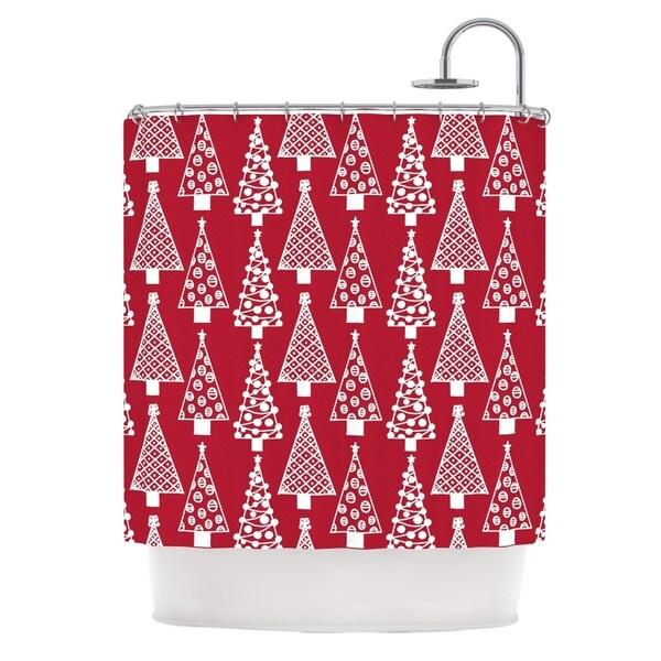 KESS InHouse Emine Ortega Jolly Trees Red Crimson Shower Curtain (69x70)
