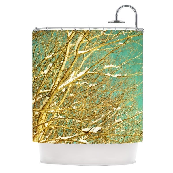 KESS InHouse Iris Lehnhardt Snow Covered Twigs Teal Brown Shower Curtain (69x70)