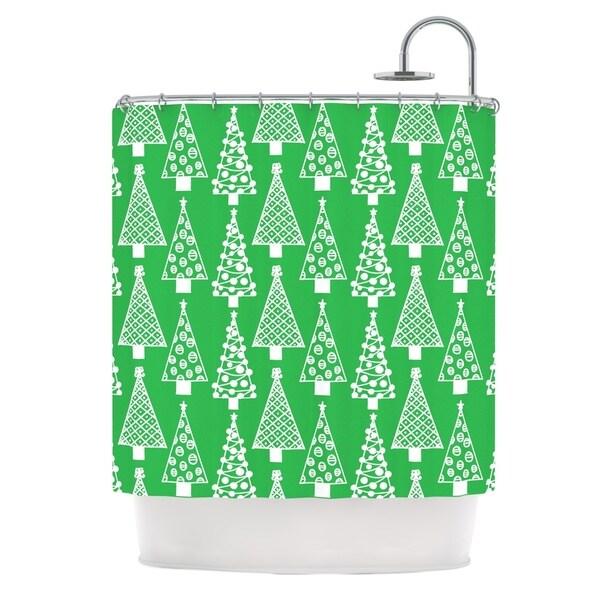 KESS InHouse Emine Ortega Jolly Trees Green Forest Shower Curtain (69x70)