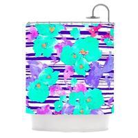 KESS InHouse Emine Ortega Cherry Blossom Teal Purple Shower Curtain (69x70)