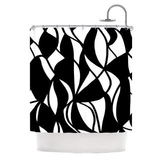 KESS InHouse Emine Ortega Sinuous Black White Shower Curtain (69x70)