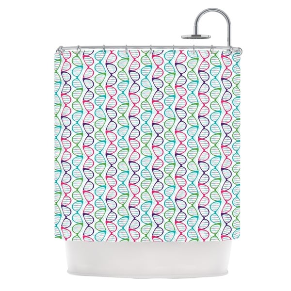 KESS InHouse Holly Helgeson Geeky DNA Pink Blue Shower Curtain 69x70