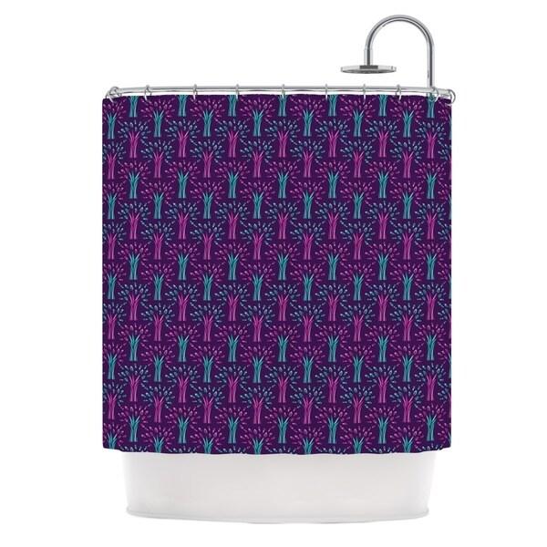 KESS InHouse Holly Helgeson Fairy Forest Blue Purple Shower Curtain (69x70)