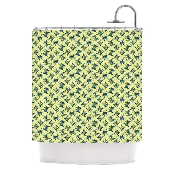 KESS InHouse Holly Helgeson Flutterby Yellow Lime Shower Curtain (69x70)