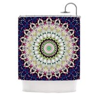 KESS InHouse Iris Lehnhardt Summer of Folklore Pink Navy Shower Curtain (69x70)