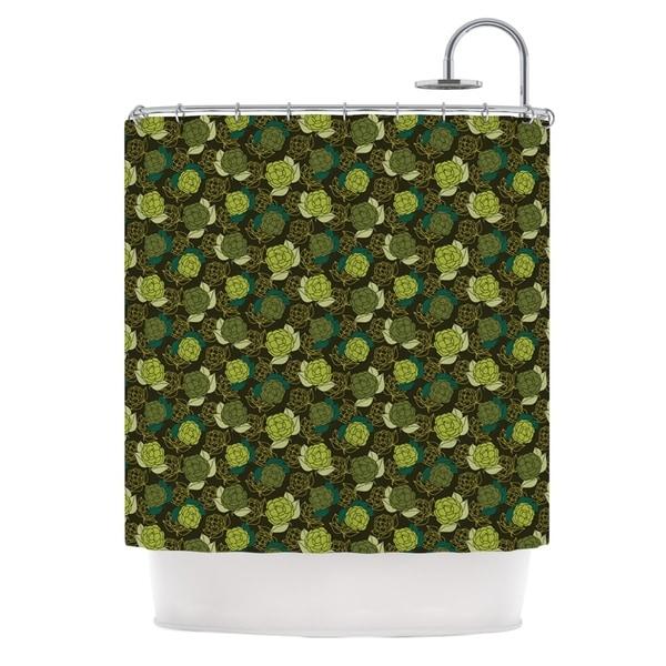 KESS InHouse Holly Helgeson Camillia Dark Forest Green Shower Curtain (69x70)