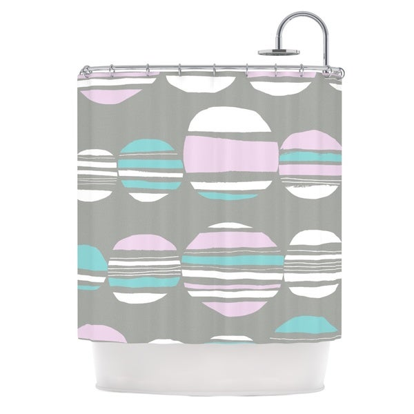 KESS InHouse Emine Ortega Retro Circles Pastel Shower Curtain (69x70)