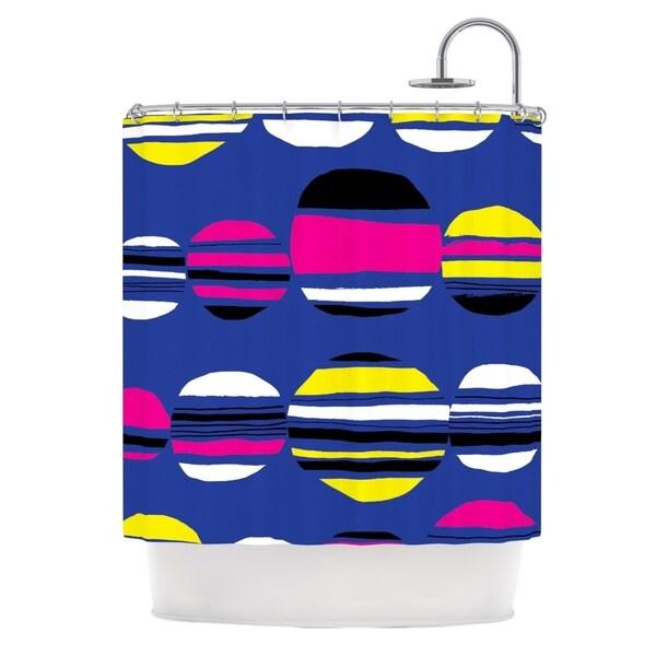 KESS InHouse Emine Ortega Retro Circles Cobalt Shower Curtain (69x70)