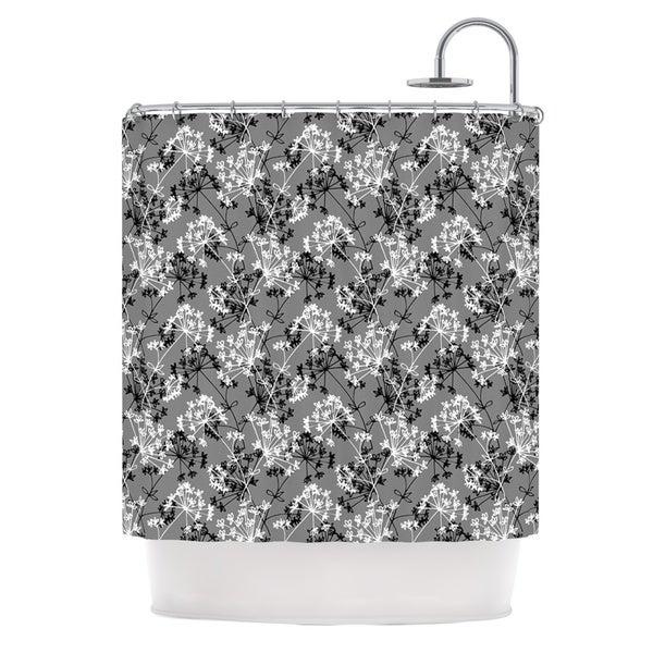 KESS InHouse Holly Helgeson Dandy Grey Floral Shower Curtain (69x70)