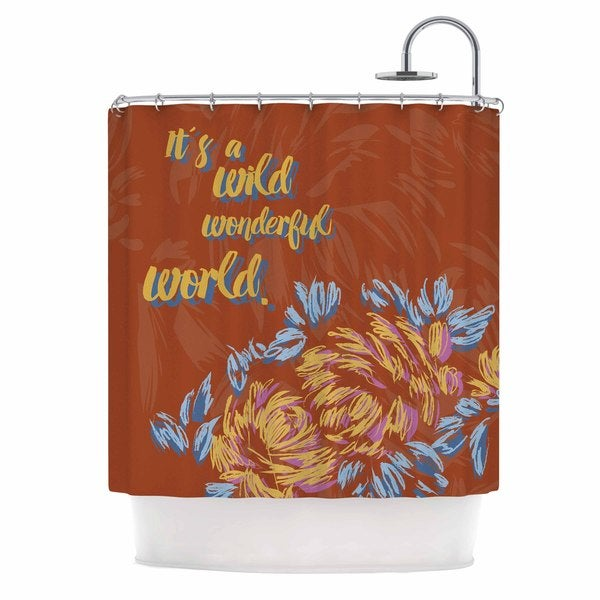 KESS InHouse Gukuuki Wonderful World Brown Typograpgy Shower Curtain (69x70)