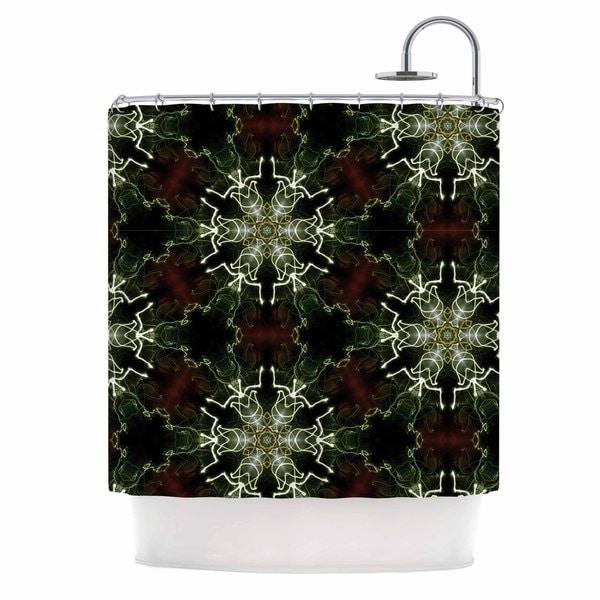 KESS InHouse Gukuuki Mandala Lights Black Abstract Shower Curtain (69x70)