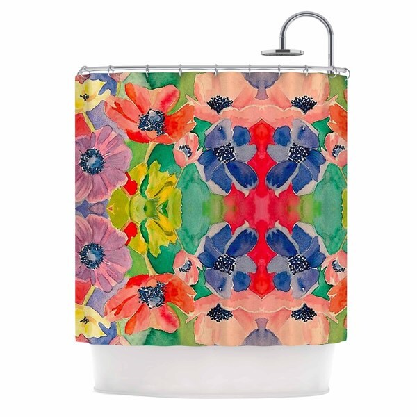 KESS InHouse Gukuuki Spring Time Multicolor Floral Shower Curtain (69x70)
