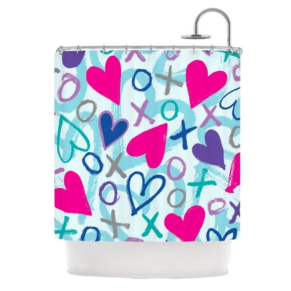 KESS InHouse Emine Ortega Hearts a Flutter Shower Curtain (69x70)