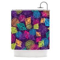 KESS InHouse Emine Ortega African Beat Purple Shower Curtain (69x70)