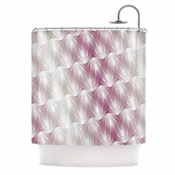 "KESS InHouse Gukuuki ""Stripe Palms"" Pink White Shower Curtain (69x70) - 69 x 70"