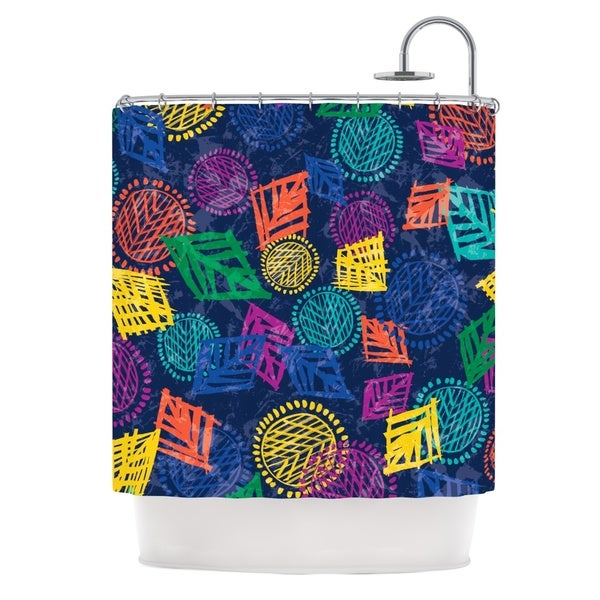 KESS InHouse Emine Ortega African Beat Blue Shower Curtain (69x70)