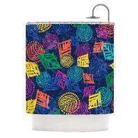 KESS InHouse Emine Ortega African Beat Blue Shower Curtain (69x70)