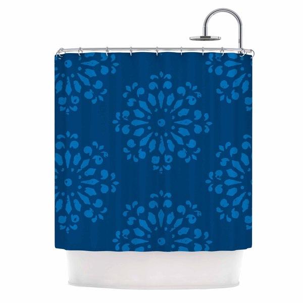 KESS InHouse Gukuuki Blue Taylor Navy Damask Shower Curtain (69x70)
