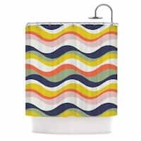 "KESS InHouse Gukuuki ""Rainbow Stripes"" Multicolor Stripe Shower Curtain (69x70) - 69 x 70"