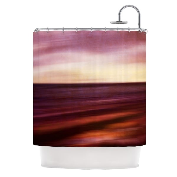 KESS InHouse Iris Lehnhardt Seascape Sunset Red Orange Shower Curtain (69x70)