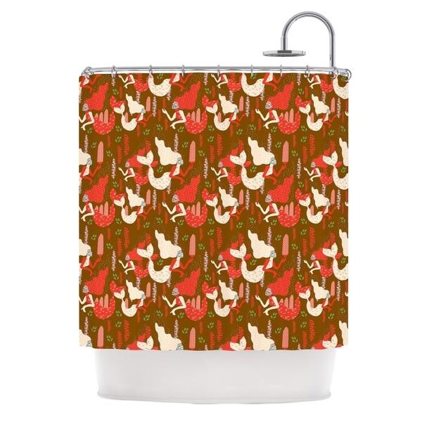 KESS InHouse Akwaflorell Mermaids Brown Red Shower Curtain (69x70)
