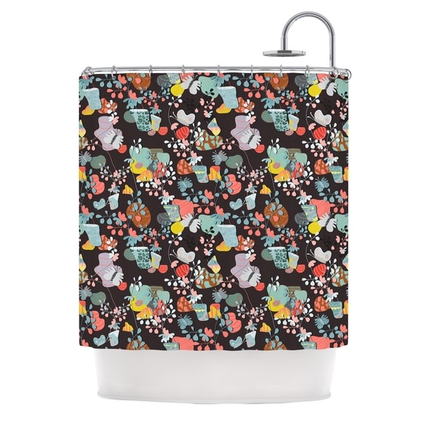KESS InHouse Akwaflorell At Home Black Multicolor Shower Curtain (69x70)