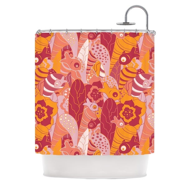 KESS InHouse Akwaflorell Fishes Here, Fishes There 3 Pink Orange Shower Curtain (69x70)