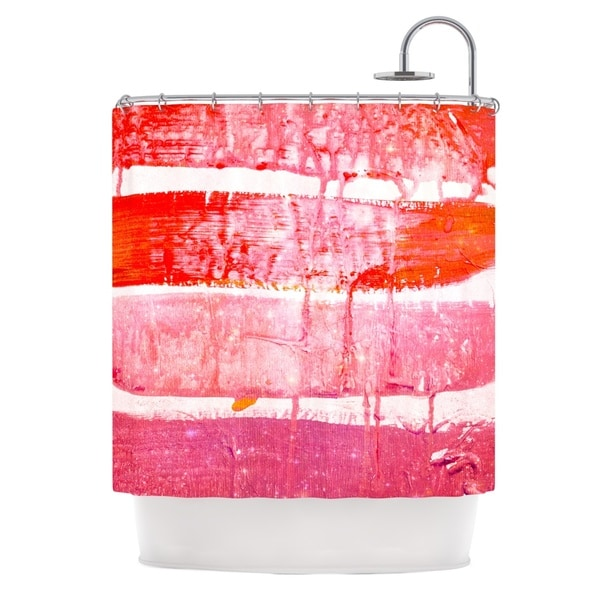 KESS InHouse Iris Lehnhardt Coral Paint Wash Pink Red Shower Curtain (69x70)