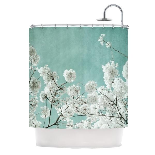 KESS InHouse Iris Lehnhardt Flowering Season Teal White Shower Curtain (69x70)