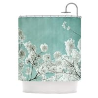 KESS InHouse Iris Lehnhardt Flowering Season Teal White Shower Curtain (69x70)