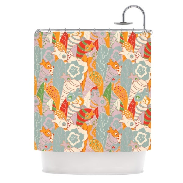 KESS InHouse Akwaflorell Fishes Here, Fishes There 2 Multicolor Shower Curtain (69x70)
