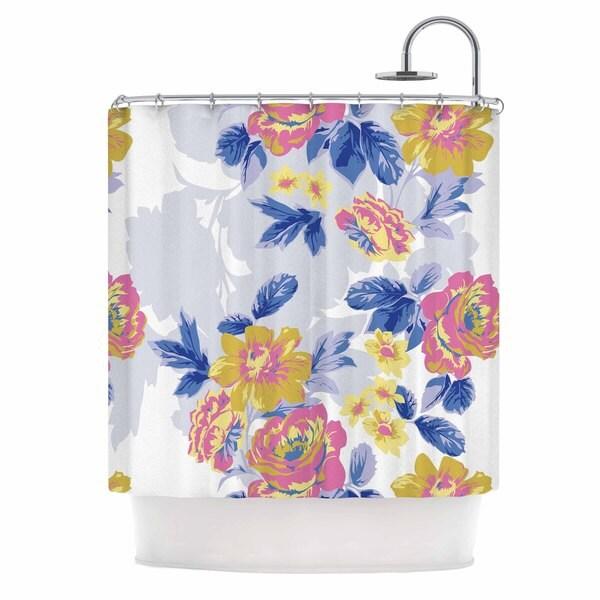 KESS InHouse Gukuuki Royal Garden Multicolor Yellow Shower Curtain (69x70)