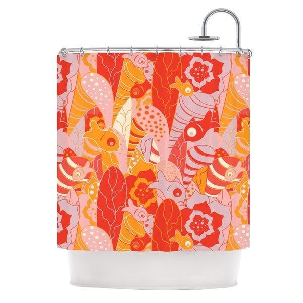 KESS InHouse Akwaflorell Fishes Here, Fishes There Orange Red Shower Curtain (69x70)