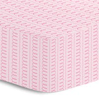Oliver Gal Signature Collection 'Pink Spiral Stripe' Printed Crib Sheet