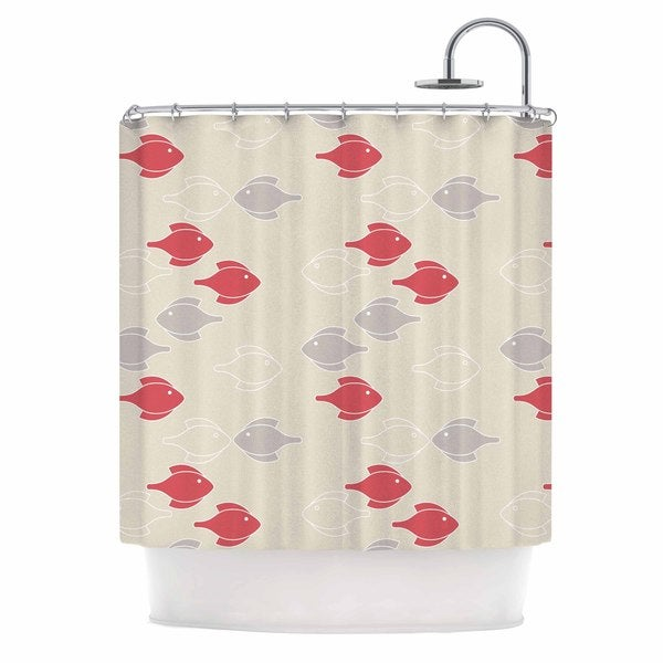KESS InHouse Gukuuki Mayan Fish Beige Magenta Shower Curtain (69x70)