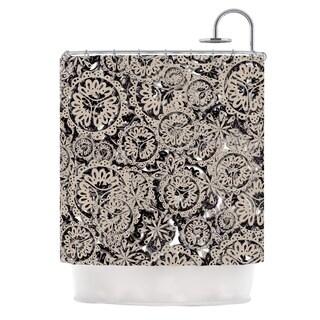 KESS InHouse Akwaflorell Snowflakes Brown Geometric Shower Curtain (69x70)