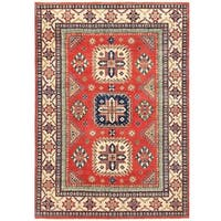 Herat Oriental Afghan Hand-knotted Vegetable Dye Tribal Kazak Wool Rug (4'9 x 6'8)
