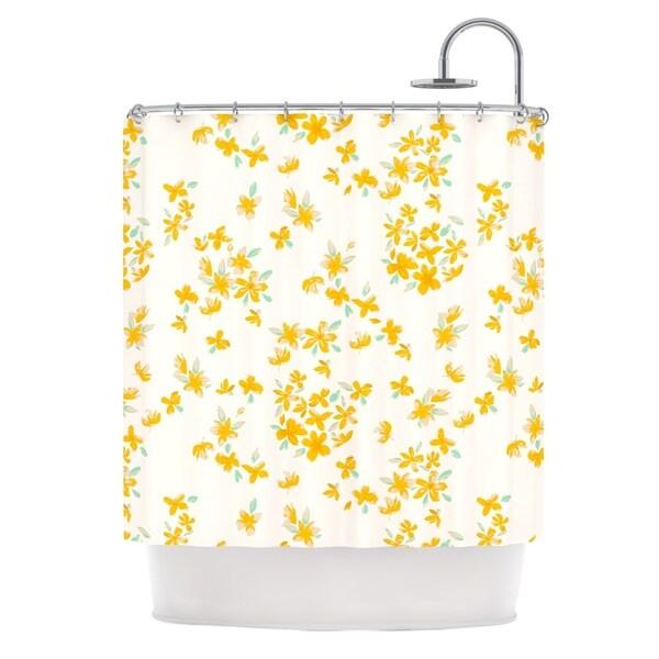KESS InHouse Gukuuki Kashmir Garden Yellow White Shower Curtain 69x70