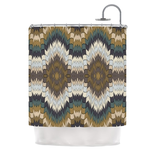 KESS InHouse Akwaflorell Papercuts Brown Geometric Shower Curtain (69x70)