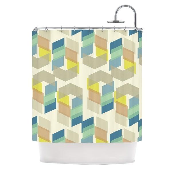 "KESS InHouse Gukuuki ""Kobob Chevron"" Geometric Brown Shower Curtain (69x70) - 69 x 70"
