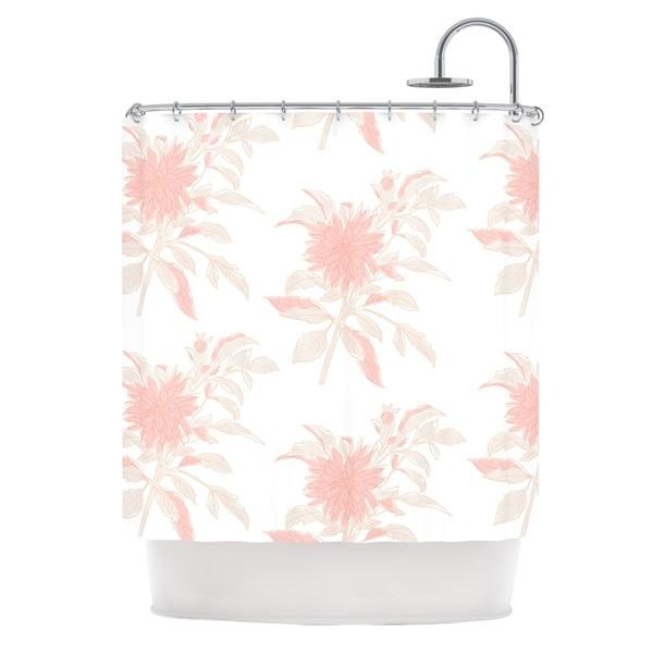 KESS InHouse Gukuuki Pastel Fluers Pink White Shower Curtain (69x70)