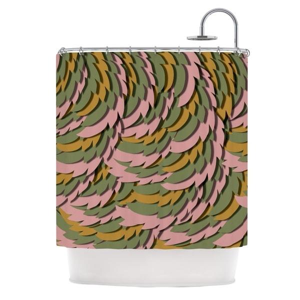 KESS InHouse Akwaflorell Wings II Pink Green Shower Curtain (69x70)
