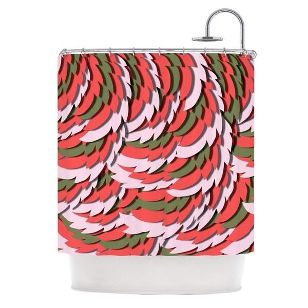 KESS InHouse Akwaflorell Wings Green Red Shower Curtain (69x70)