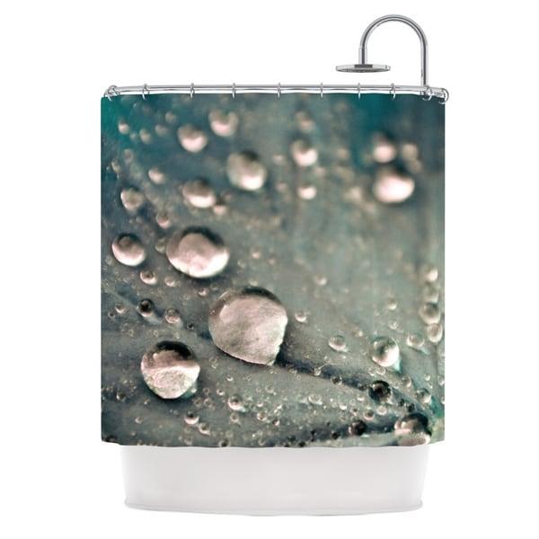 KESS InHouse Iris Lehnhardt Water Droplets Grey Dark Shower Curtain 69x70