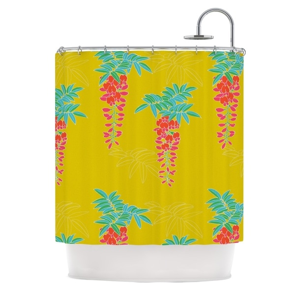 KESS InHouse Gukuuki Ipanema Yellow Shower Curtain (69x70)