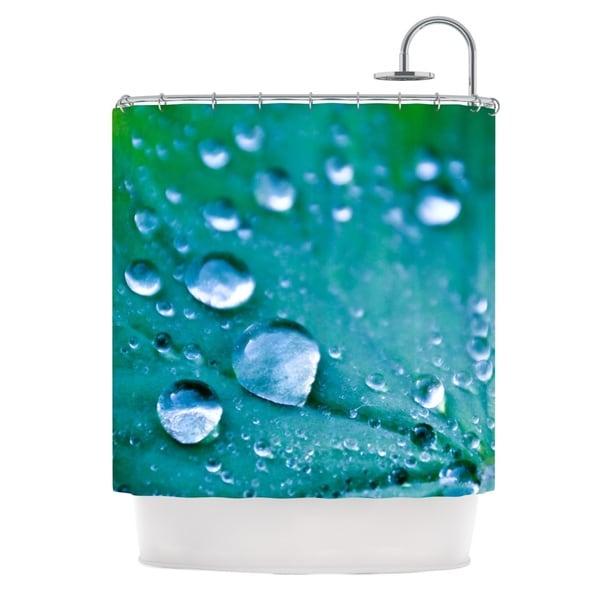 KESS InHouse Iris Lehnhardt Water Droplets Aqua Teal Shower Curtain (69x70)