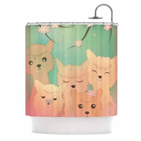 KESS InHouse Graphic Tabby Spring Alpacas Pastel Animals Shower Curtain (69x70)