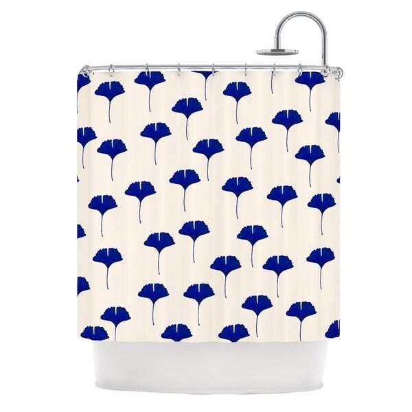KESS InHouse Iris Lehnhardt Leaf Pattern Tan Blue Shower Curtain (69x70)