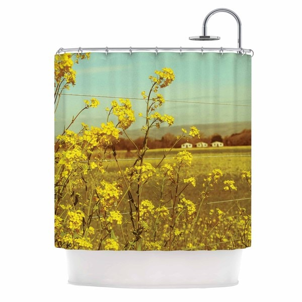 KESS InHouse Graphic Tabby Spring Breeze Yellow Photography Shower Curtain (69x70)