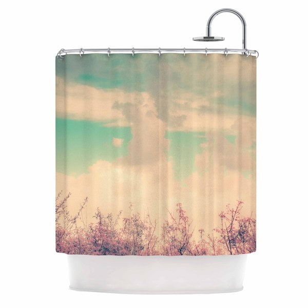 "KESS InHouse Graphic Tabby ""Spring Daydream"" Blue Nature Shower Curtain (69x70) - 69 x 70"